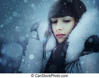 snowfall., abstract, vrouwlijk, verticaal, met, beauty, bokeh