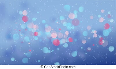 Snowfall against multicolor circles - Digitally generated...