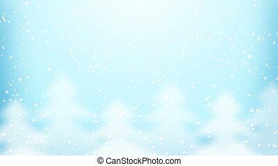 snowfall and fir trees loop - snowfall and fir trees....