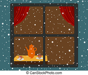 Snowfall and room - Cosy room with tea and snow outside