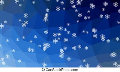 Snowfall animation, snowflakes falling on polygonal crystalic dark blue background, snow falls obliguely. Winter movie background.