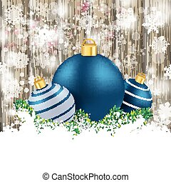 Snowfall Ash Wooden Background Blue Baubles - Snow on the...