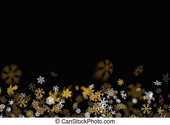 Snowfall background with golden snowflakes blurred in the...
