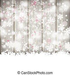 Snowfall Bokeh Wooden Background