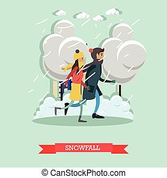 Snowfall concept vector illustration in flat style. - ...
