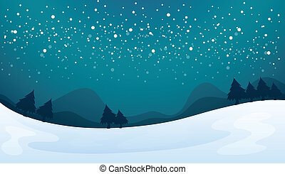 snowfall - illustration of a snowfall and beautiful nature...