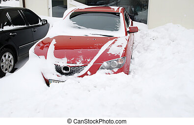 Snowfall extremely situation, cars in the snow