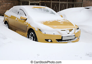 Snowfall extremely situation, cars in the snow, Europe, Ukraine