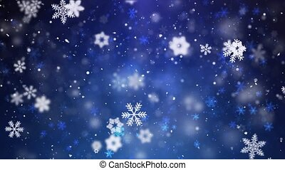 Snowfall Falling On Darkly Dark Blue Seamless Loop Animation.