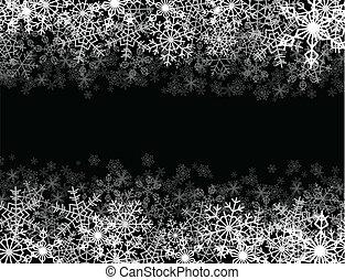 Snowfall frame - Horizontal frame with snowflakes falling...