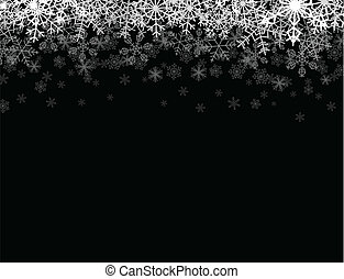 Snowfall from the sky - Horizontal frame with snowflakes...