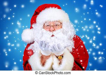 snowfall - Good old Santa Claus blowing a snow over blue ...