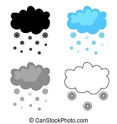 Snowfall icon in cartoon style isolated on white background.