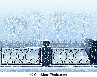 Snowfall in park with the river.