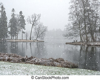 Snowfall in the city winter Park.