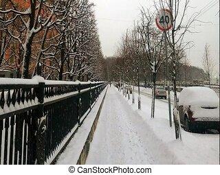 Snowfall in the city. Winter. Saint-Petersburg, Russia. HD...