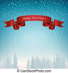 Happy New Year Landscape in Blue Shades