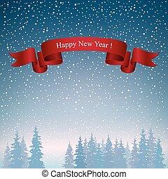 Happy New Year Landscape in Dark Blue Shades