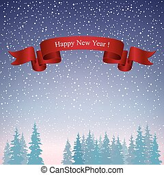 Happy New Year Landscape in Purple Shades