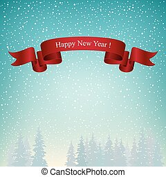 Happy New Year Landscape in Turquoise Shades