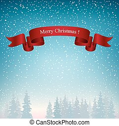Merry Christmas Landscape in Blue Shades