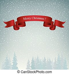 Merry Christmas Landscape in Gray Shades - Snowfall in the...