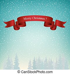 Merry Christmas Landscape in Turquoise Shades