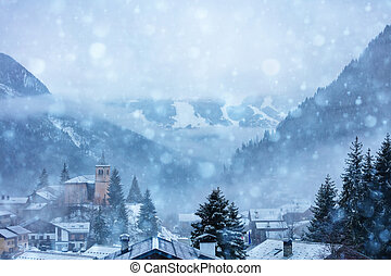 Snowfall in the old French mountain village