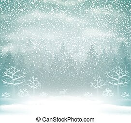 Snowfall in the winter forest landscape.