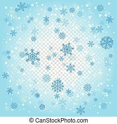 Snowfall in winter abstract background. Snowflakes on transparent background
