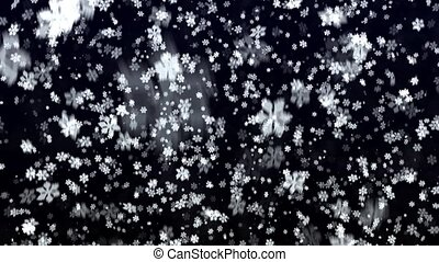 Snowfall on a blue background