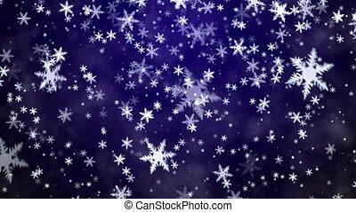 Snowfall on a blue background