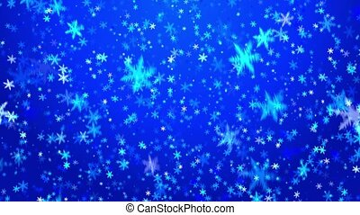 Snowfall on blue background - Snowflakes on it is light a...