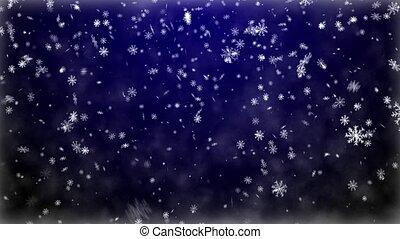 Snowfall on darkly blue background - Christmas background...
