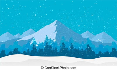 snowfall on the background of the winter forest and mountains