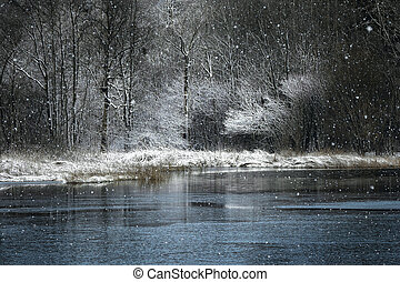 Snowfall on the lake in the winter park.
