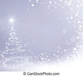 Snowfall on white Christmas tree