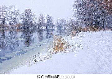Snowfall on winter river