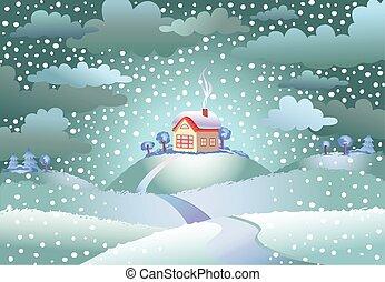 Snowfall over the small house
