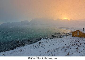 Snowfall over the Winter Bay at Dawn
