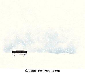 snowfall., paysage, vecteur, minimaliste, banc, vieux, noir, style, hiver, illustration