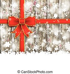 Snowfall Red Ribbon Ash Wooden Background