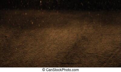 Snowfall road in car lights