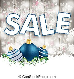 Snowfall Wood Blue Baubles Sale - Snow with blue baubles on...
