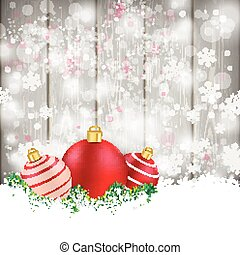 Snowfall Wood Red Baubles Sale - Snow with red baubles on...