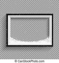 snowfalls on black and white frame