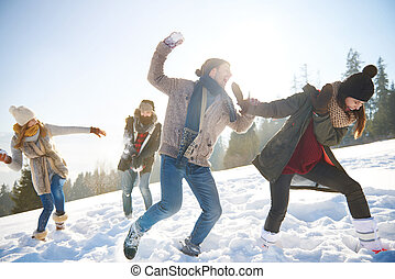 Snowfight on the sunny day