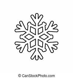 snowflake, ícone, esboço, estilo