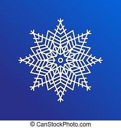 snowflake, único, ícone, ligado, azul, vetorial, ilustração