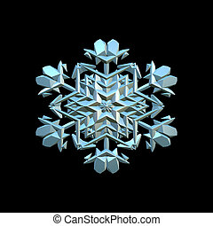 snowflake 3d illustration isolated on the black background